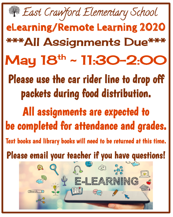 eLearning Assignments due May 18th