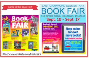 Book Fair September 10th-17th! Click link for more information and volunteer!