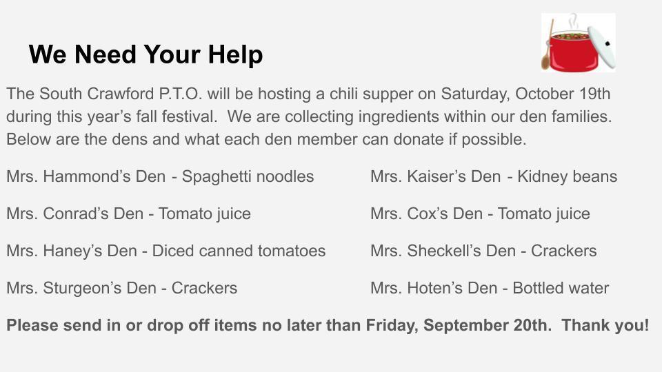 Chili Supper Donations