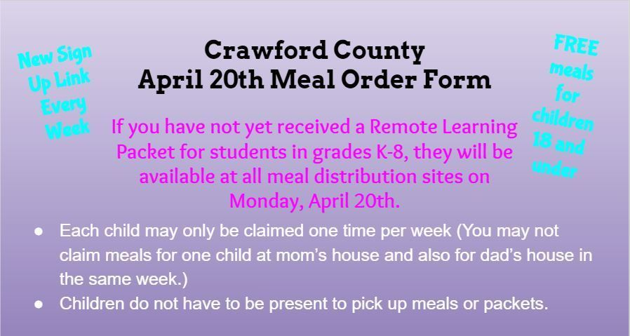 Meals available April 20